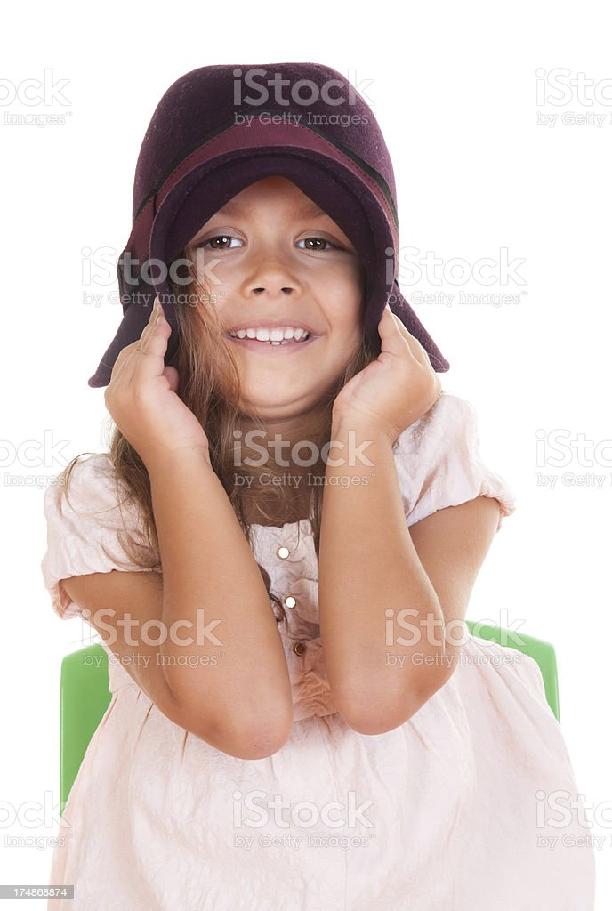 little girl with hat royalty-free stock photo