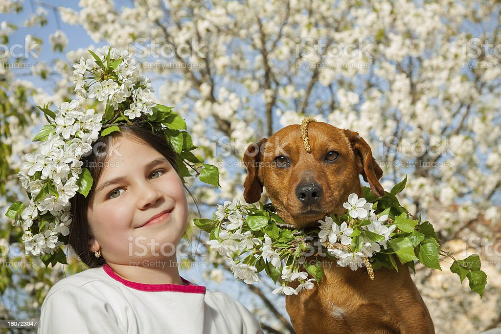 Little girl with her brown dog royalty-free stock photo
