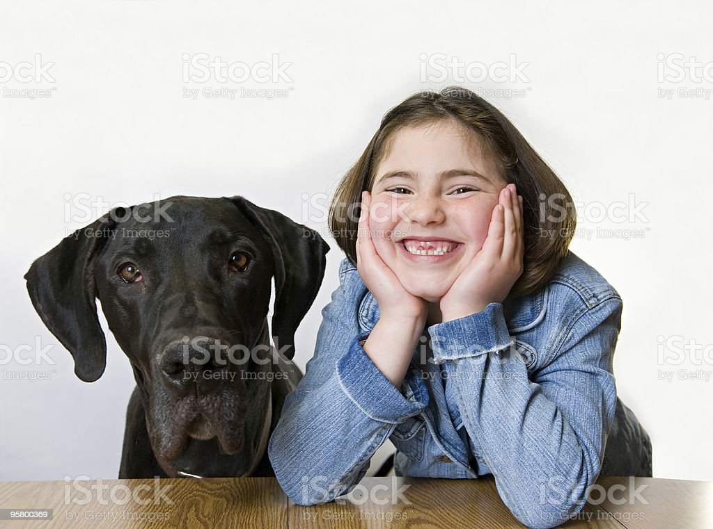 Little Girl With Her Dog royalty-free stock photo