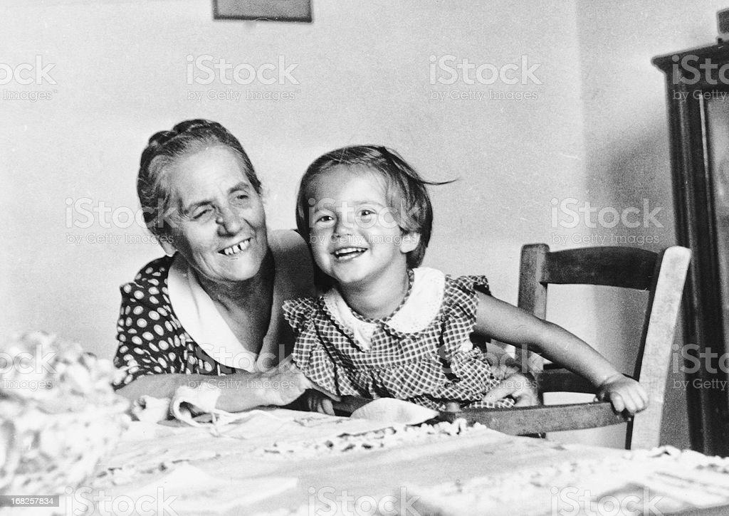 Little Girl with her Grandmother in 1949 stock photo