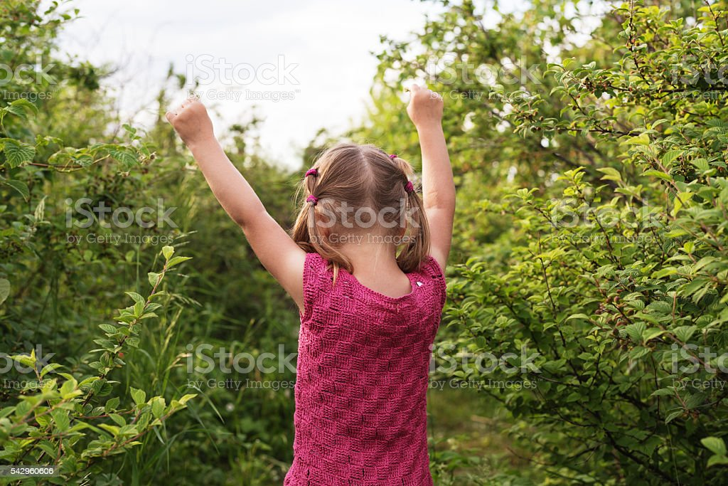 Little girl with her hands up stock photo