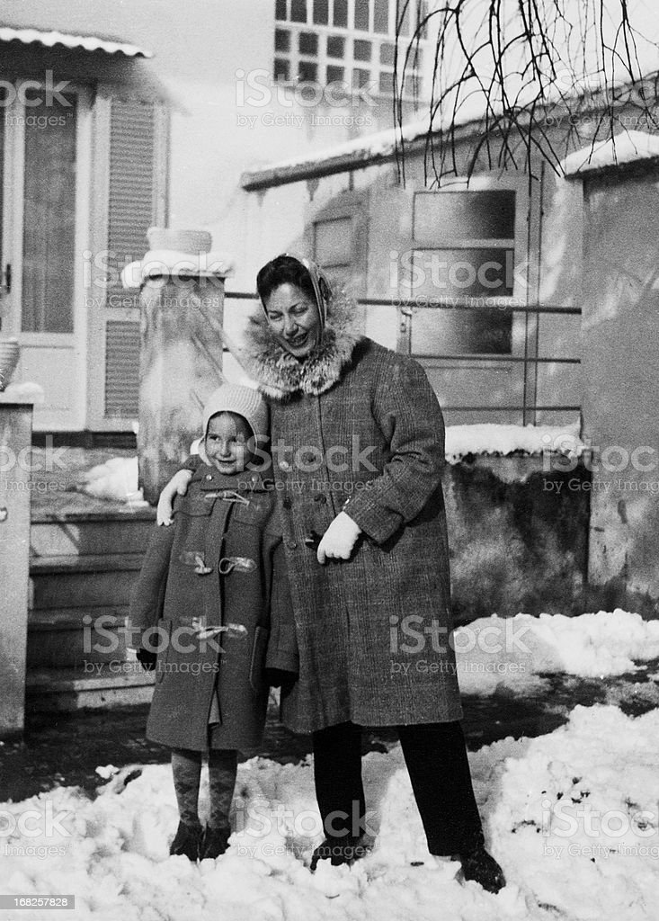 Little Girl with her Mother in 1955 stock photo
