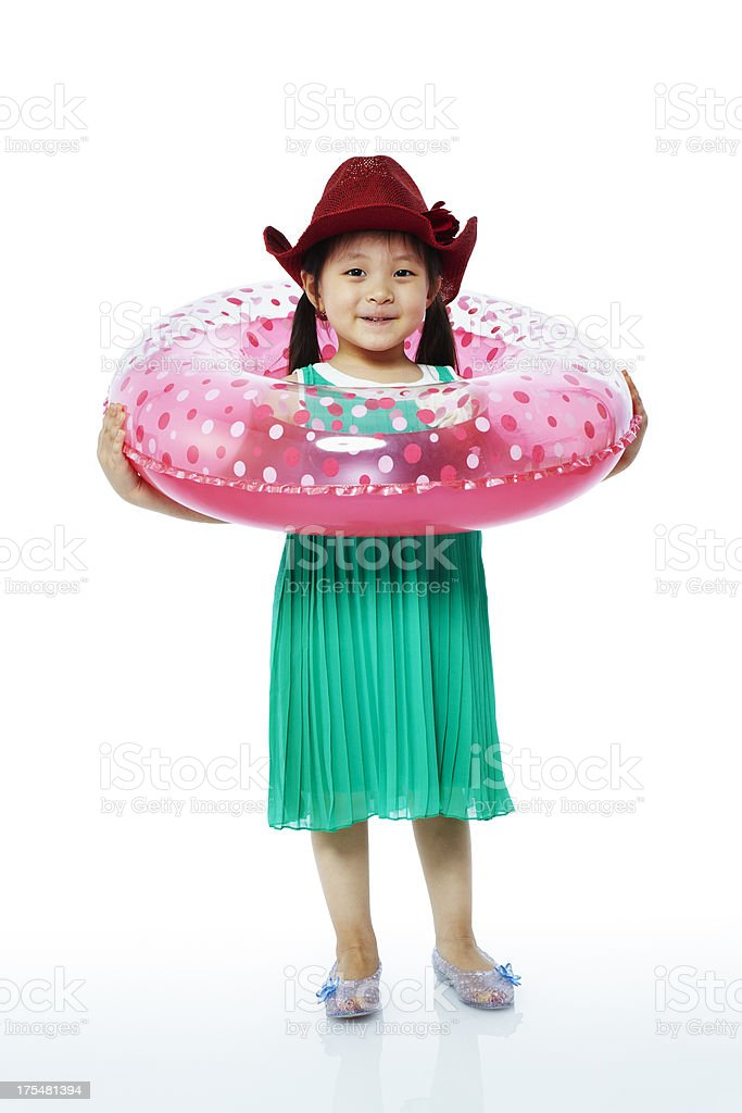 Little girl with Inner tube royalty-free stock photo