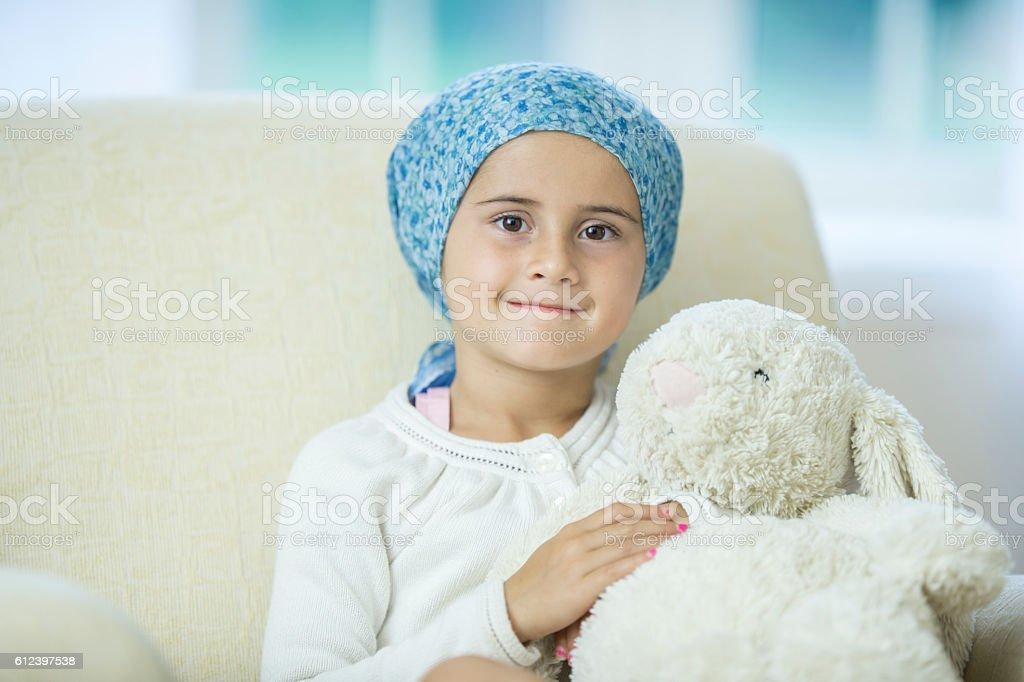 Little Girl with Leukemia stock photo