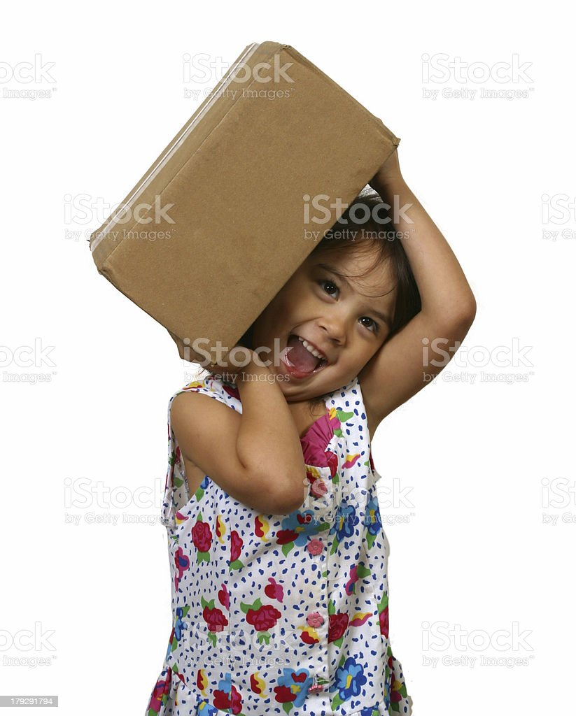 Little Girl with Package royalty-free stock photo