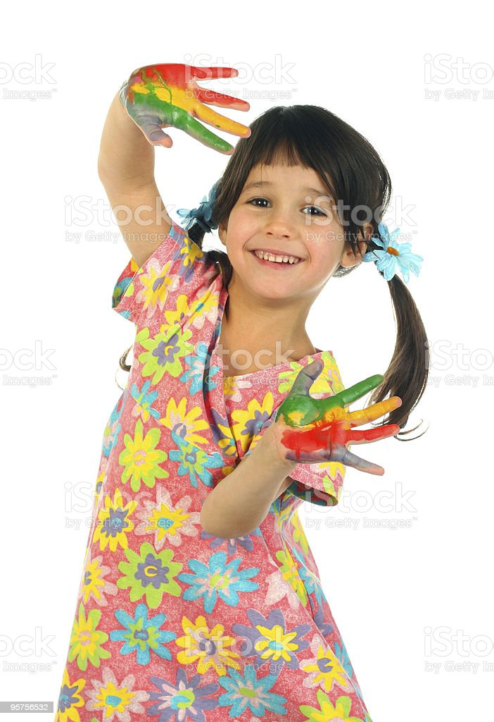 Little girl with painted hands royalty-free stock photo