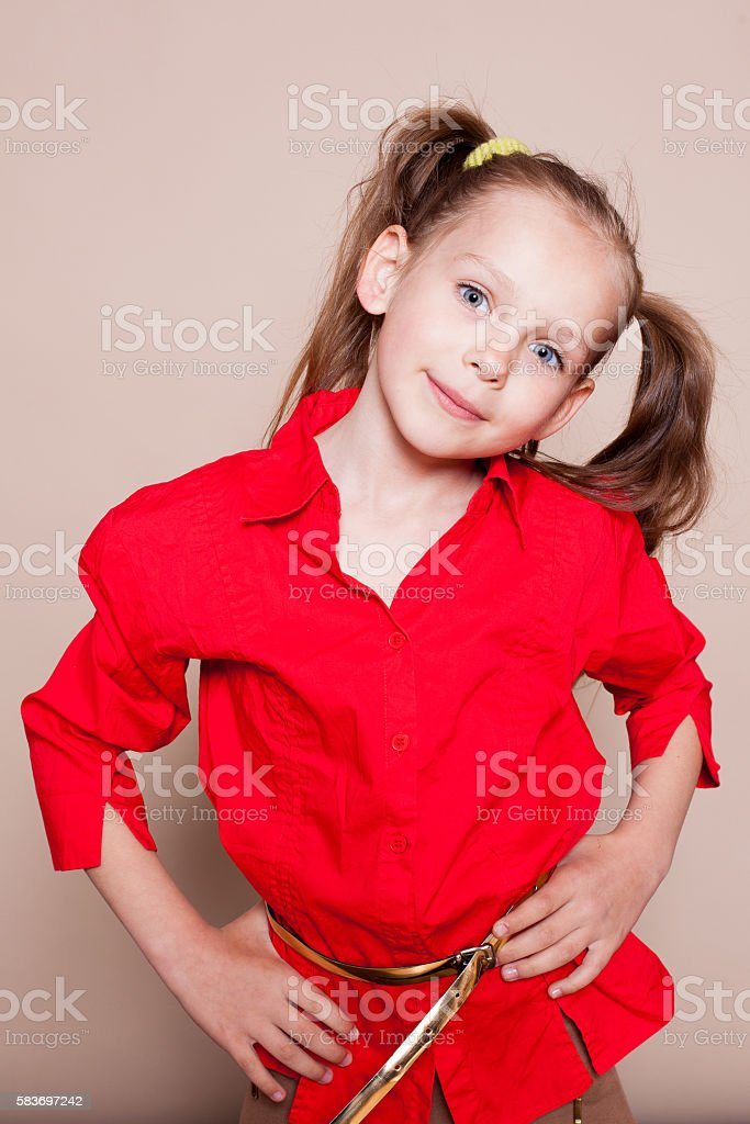little girl with pigtails Hamming stock photo
