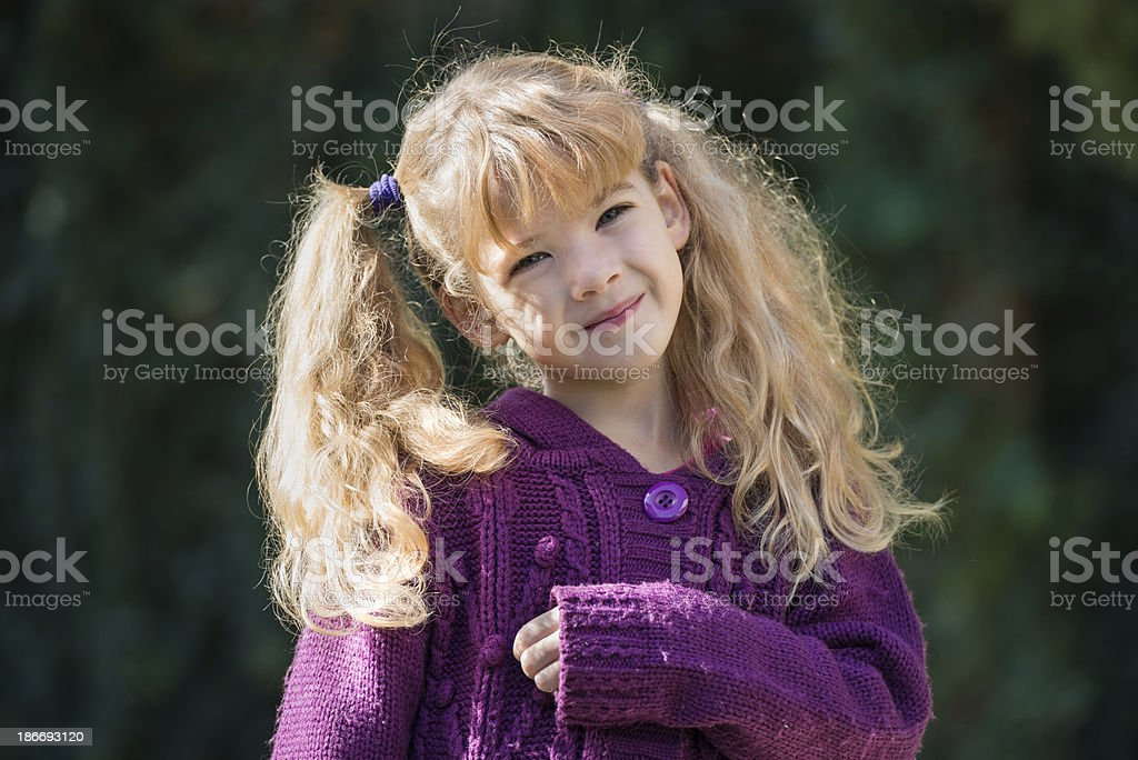 little girl with pigtails royalty-free stock photo