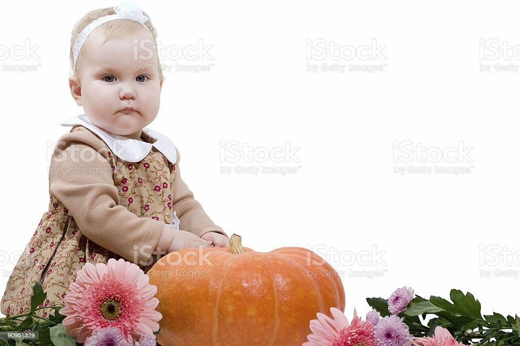 little girl with pumpkin royalty-free stock photo