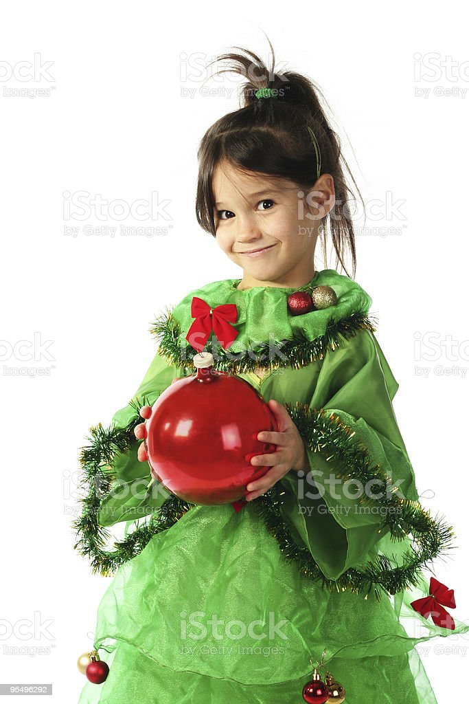 Little girl with red Christmas decoration royalty-free stock photo