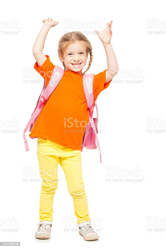 Little girl with schoolbag stock photo