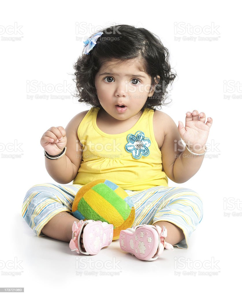 Little girl with shocked look on face royalty-free stock photo