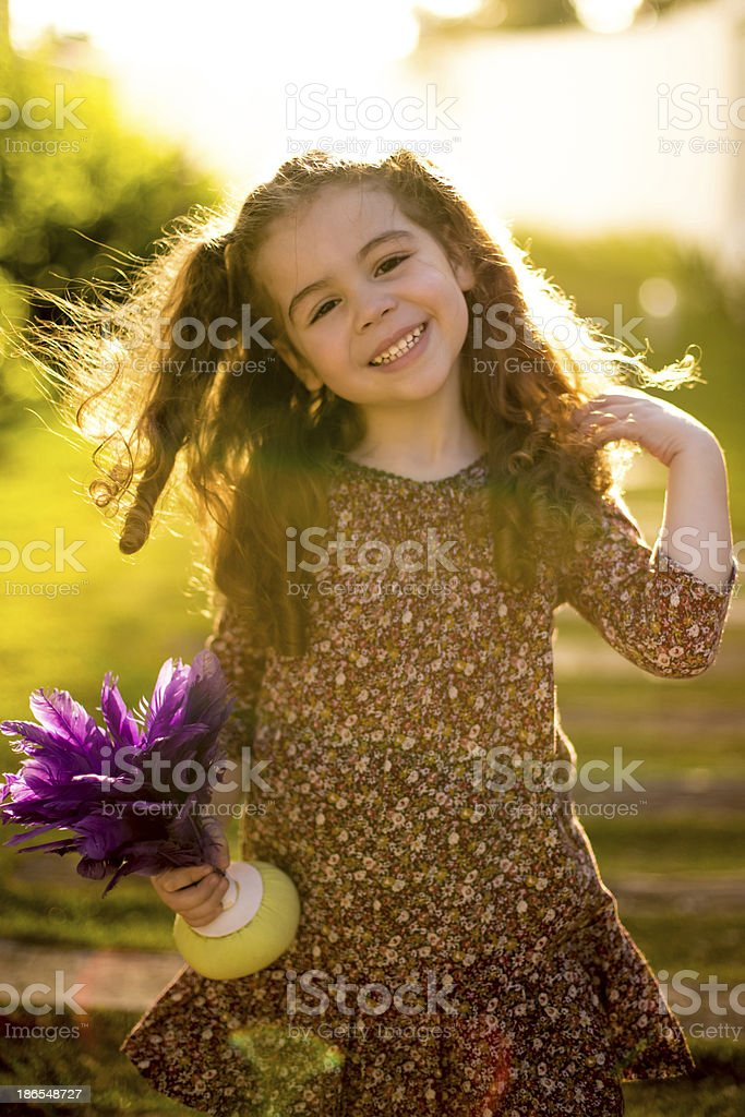 Little Girl with Shuttlecock royalty-free stock photo