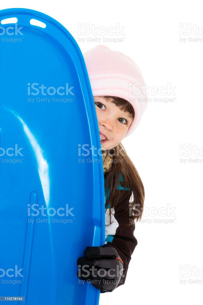 Little Girl with Sled royalty-free stock photo