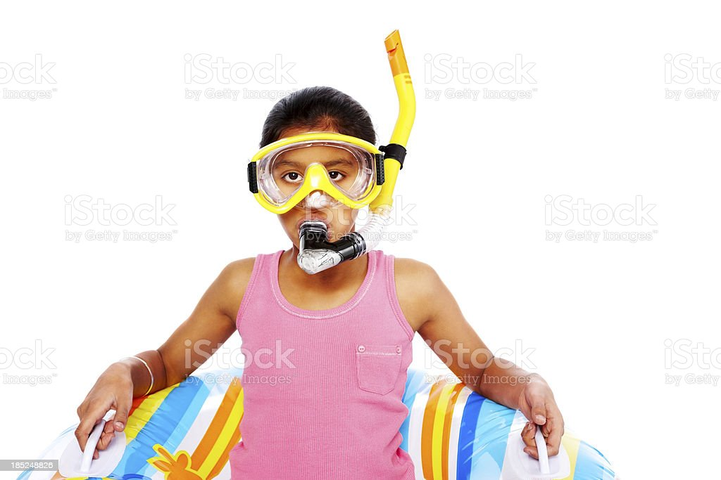 Little girl with snorkeling equipments royalty-free stock photo