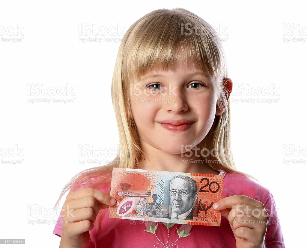 Little girl with Spending Money on white background royalty-free stock photo