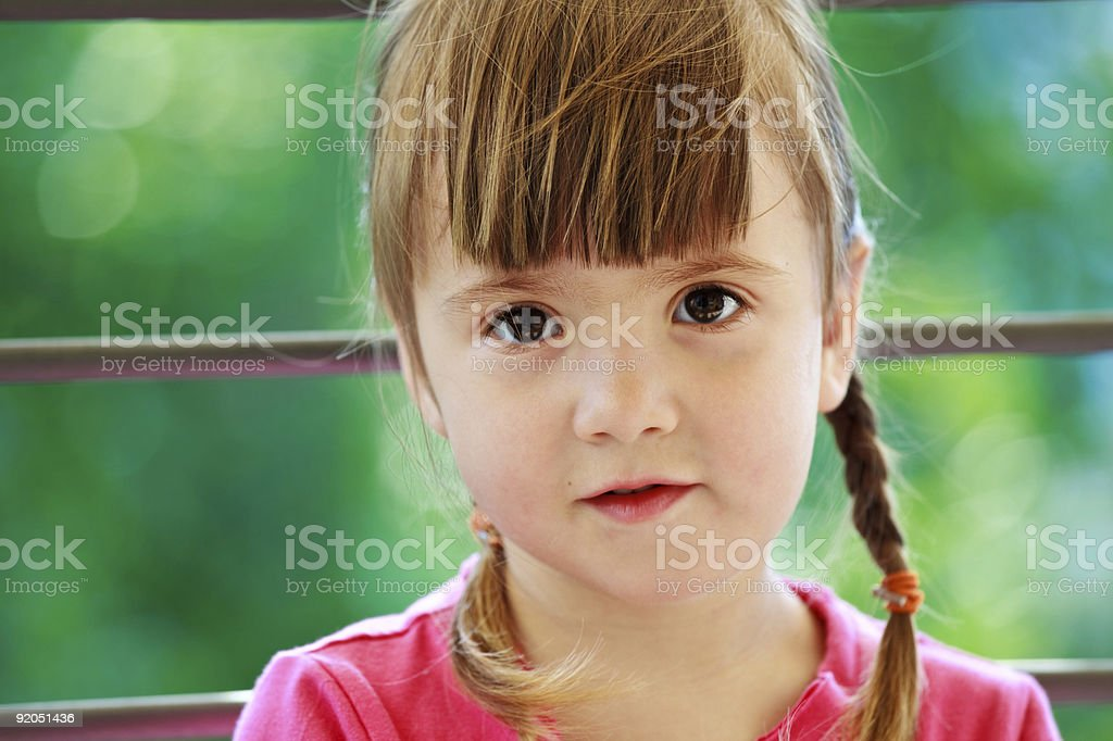 Little girl with two plaits royalty-free stock photo