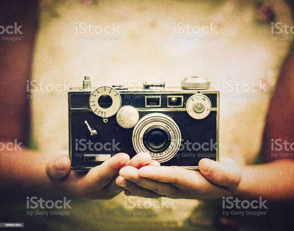 Little Girl with Vintage Camera royalty-free stock photo