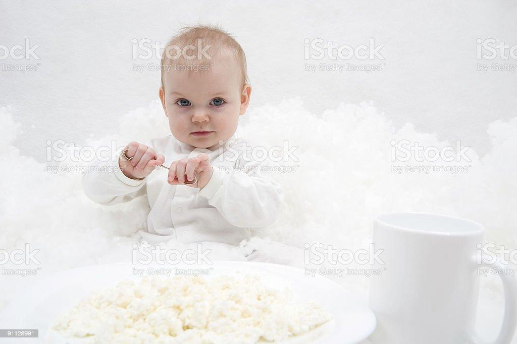 little girl's breakfast royalty-free stock photo