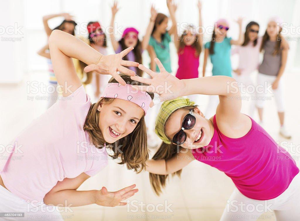 Little girls dancing. stock photo
