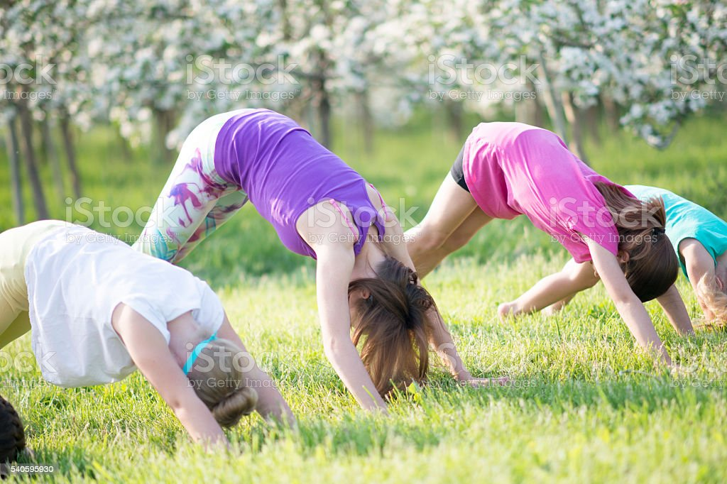 Little Girls Doing Yoga Together stock photo