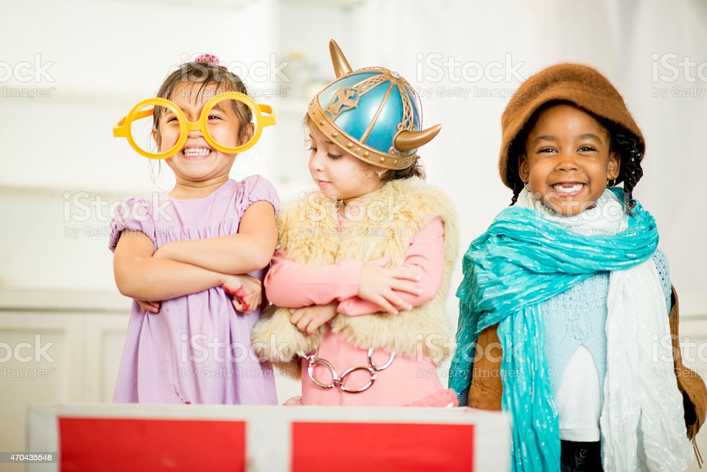 Little Girls in Costume stock photo