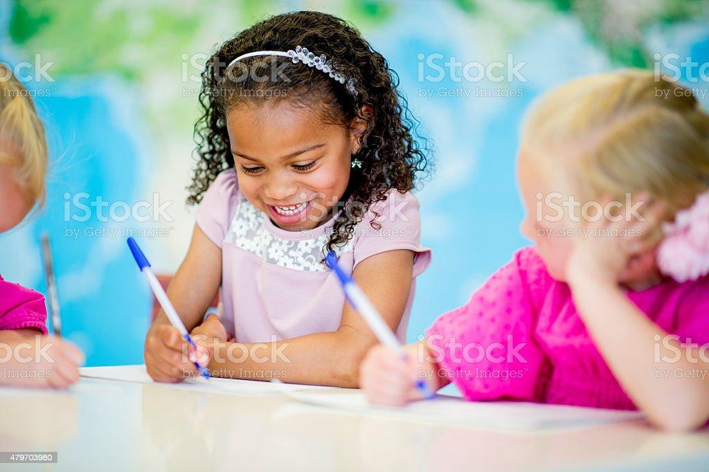 Little Girls in Daycare / Pre-School stock photo