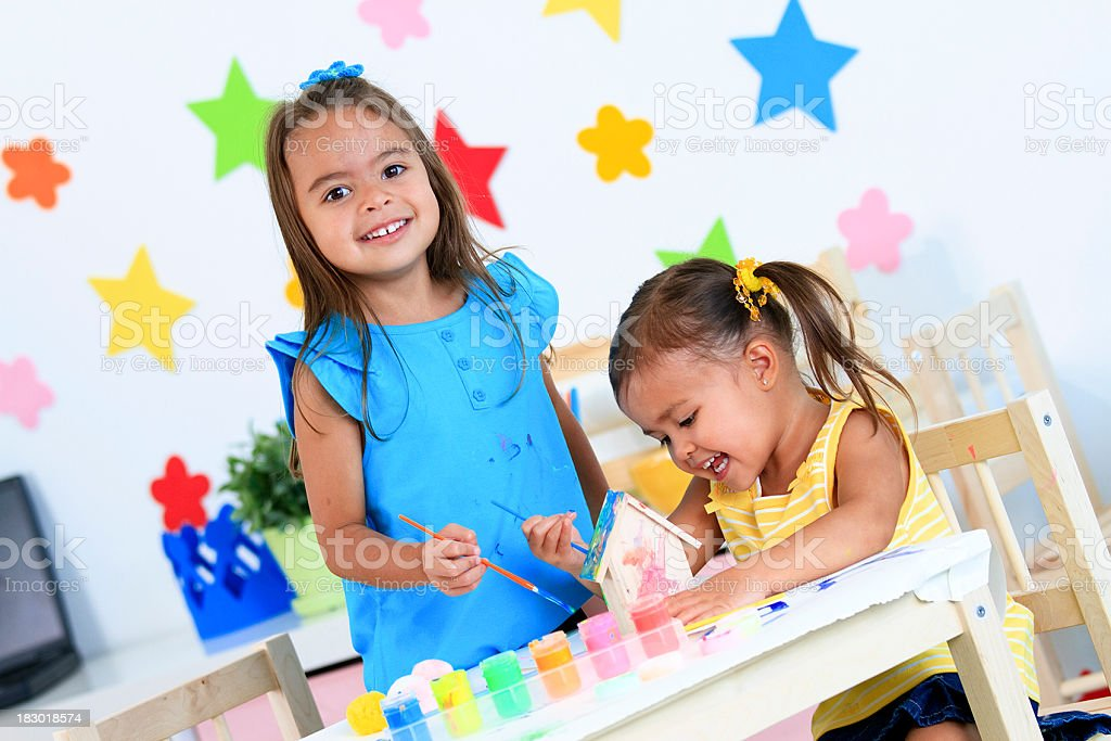Little Girls Painting royalty-free stock photo