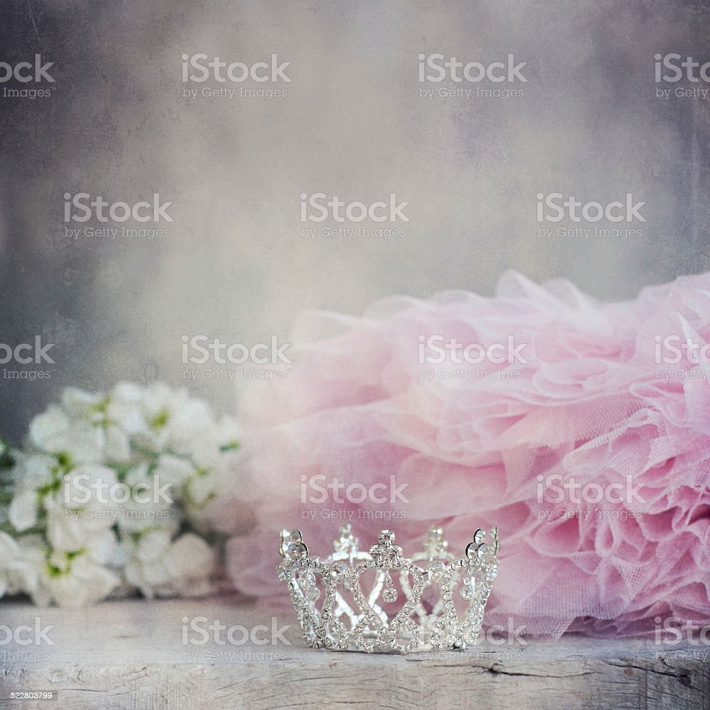 Little girls shiny crown stock photo