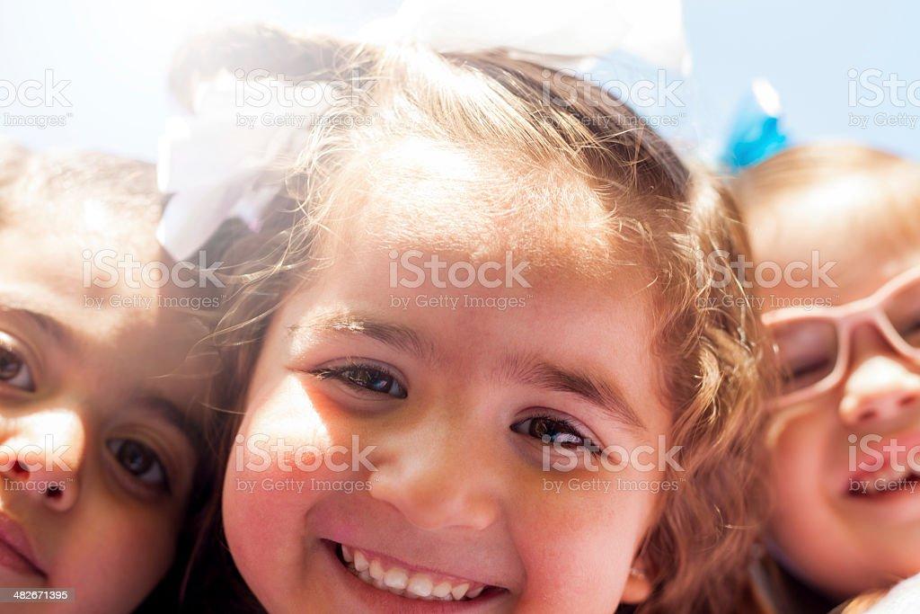 Little girls taking a selfie stock photo