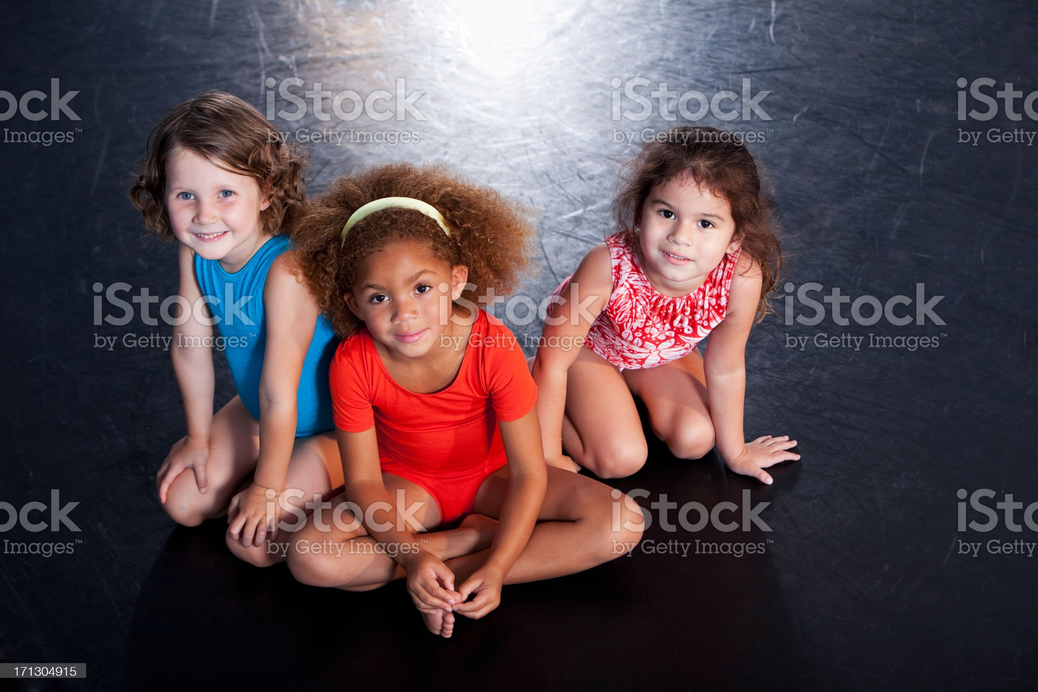 Little girls wearing leotards royalty-free stock photo