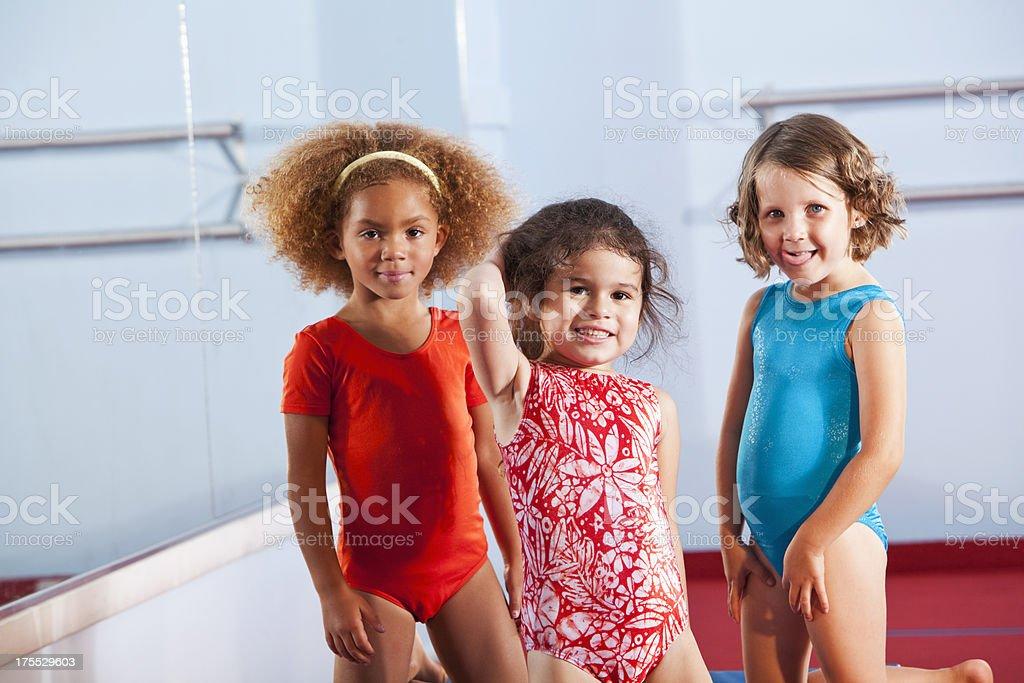 Little girls wearing leotards stock photo