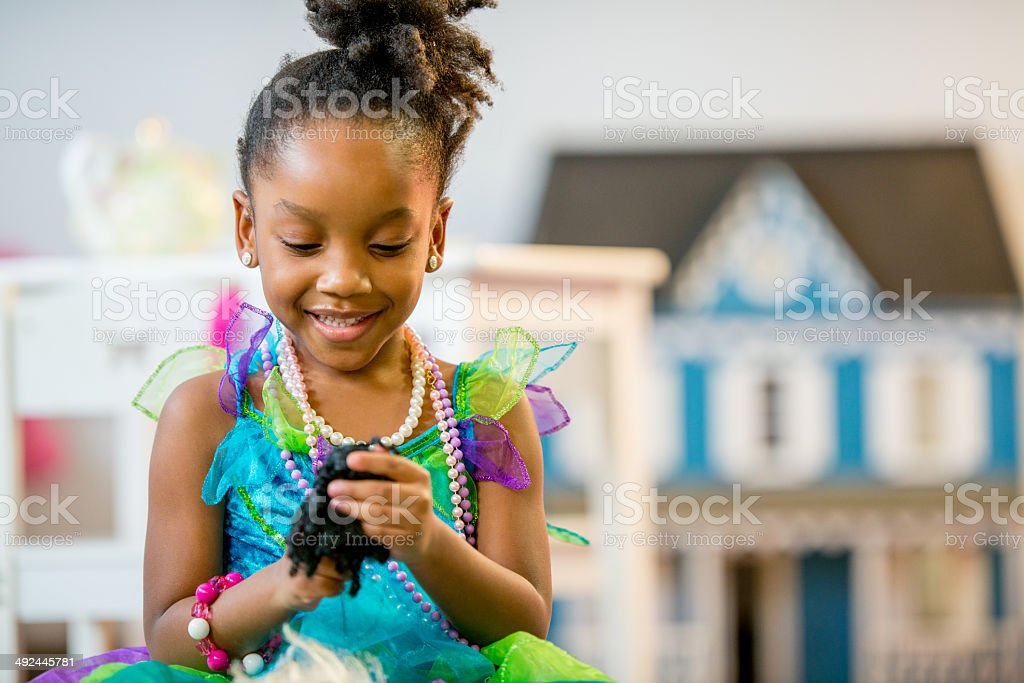 Little Girls with Imagination stock photo
