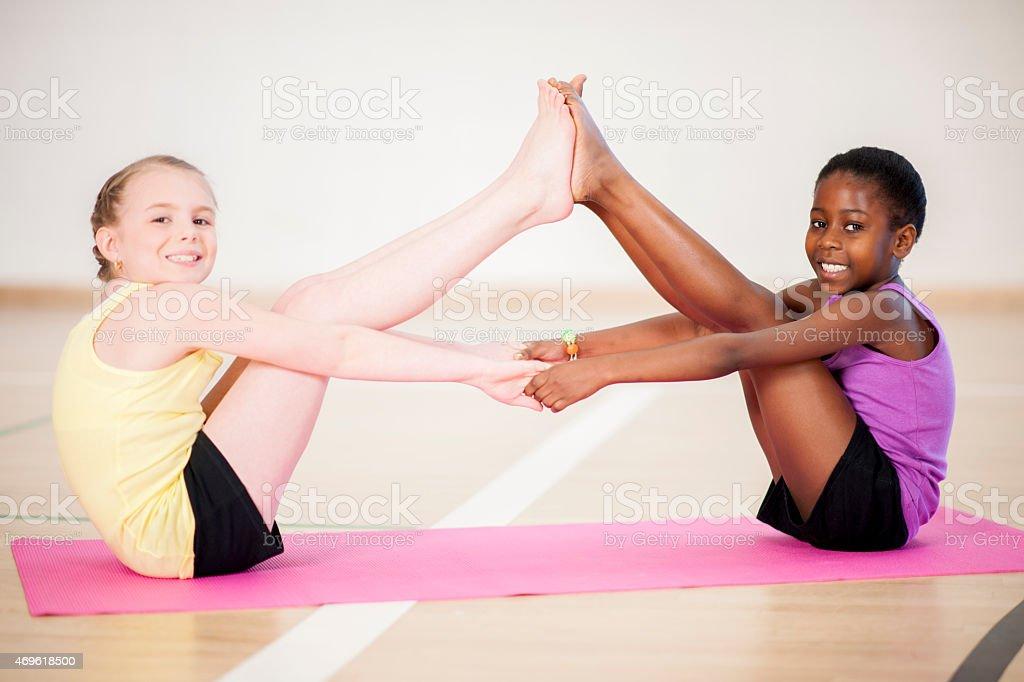 Little Girls Yoga stock photo