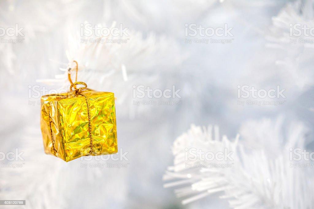 little golden gift box stock photo