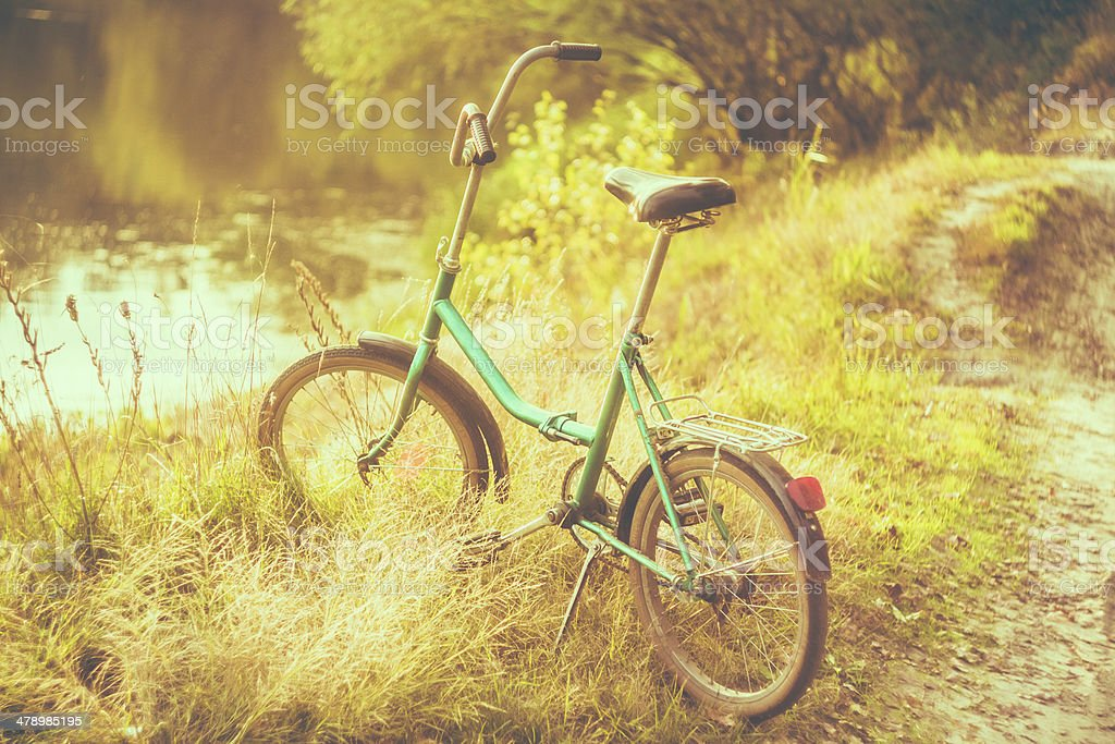 Little green bicycle standing on green summer meadow royalty-free stock photo