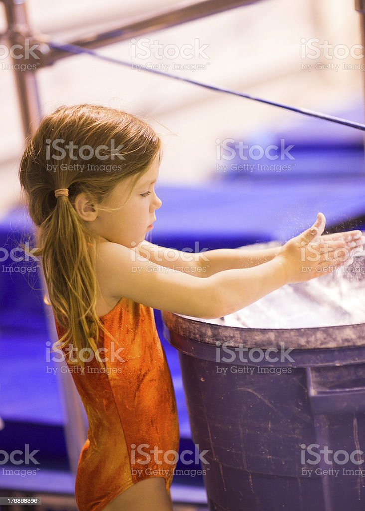 Little Gymnast Applying the Chalk royalty-free stock photo