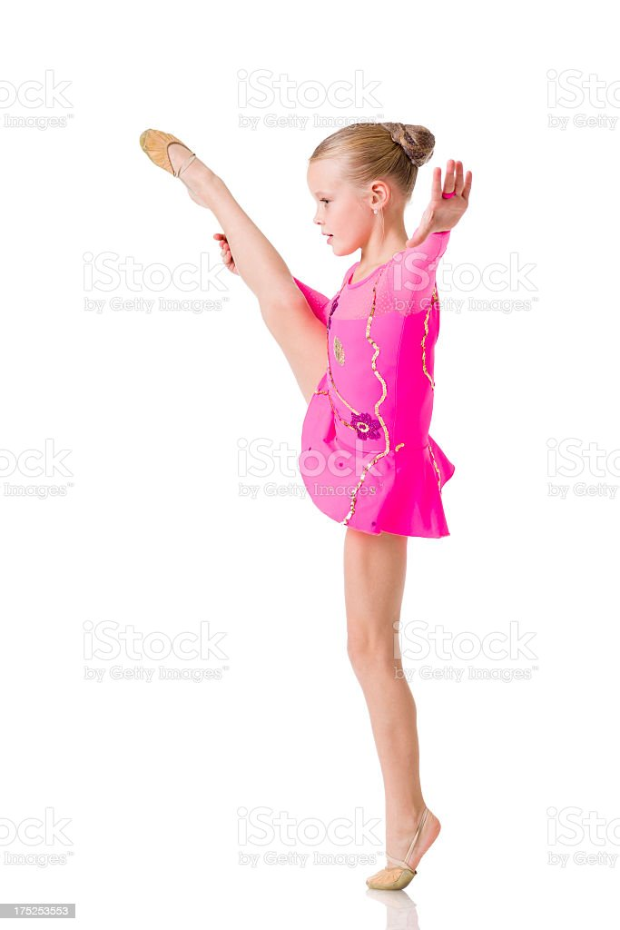 Little Gymnast girl isolated on white royalty-free stock photo