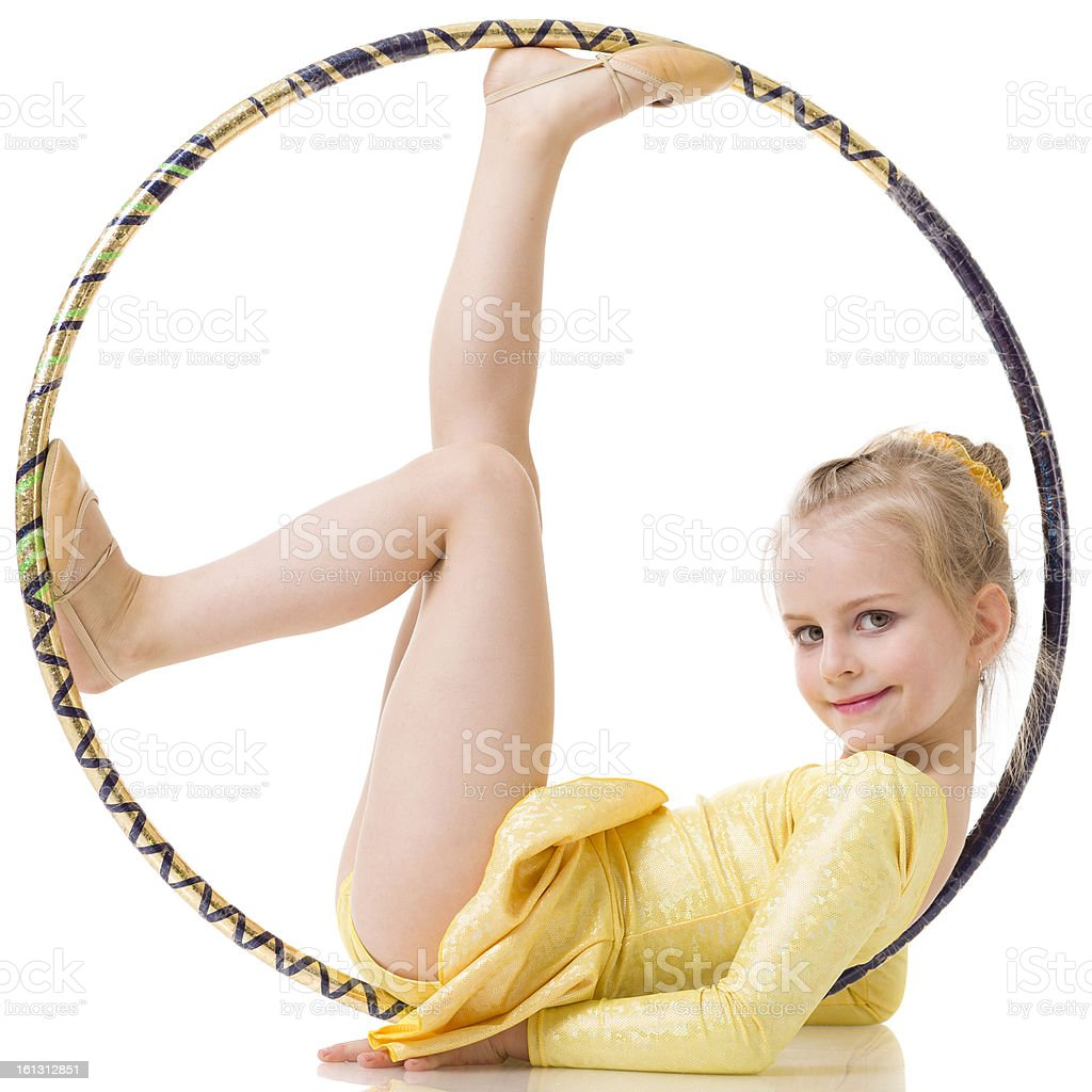 Little Gymnast girl with hula hoop isolated on white stock photo