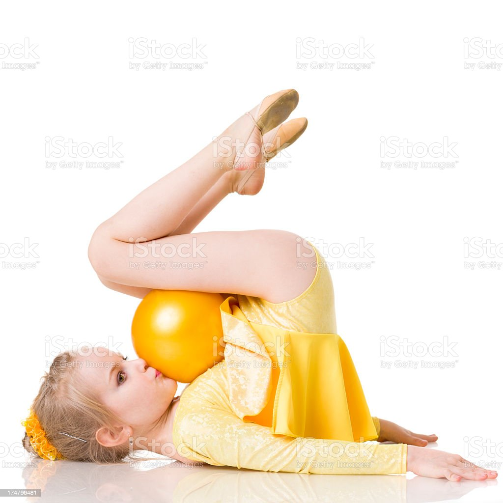 Little Gymnast girl with Rhythmic Ball isolated on white royalty-free stock photo