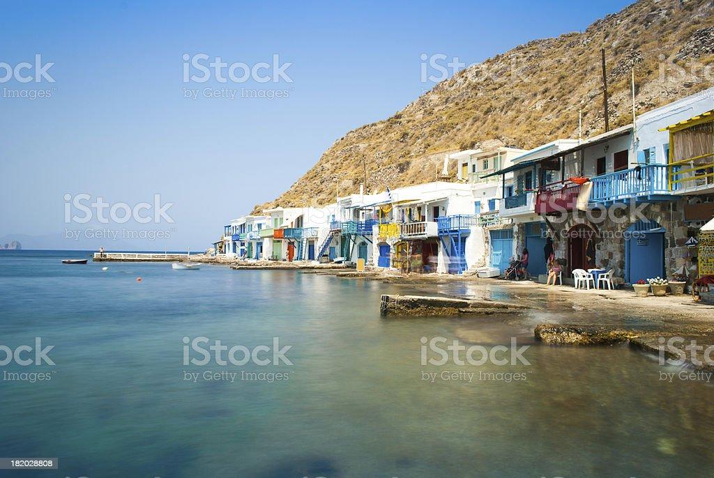 Little hamlet of Klima, Milos Island, Greece stock photo