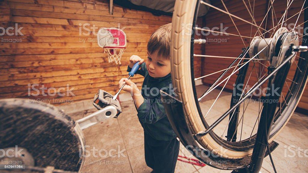 Little handyman stock photo