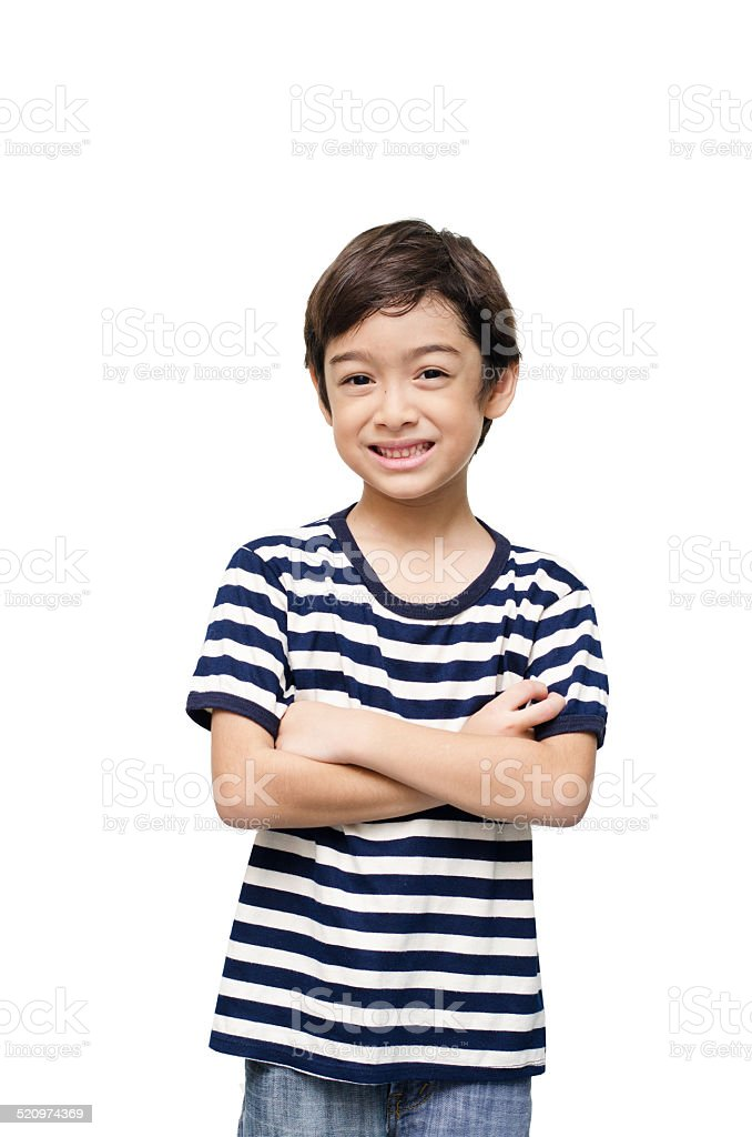 Little happy boy looking at camera portrait stock photo