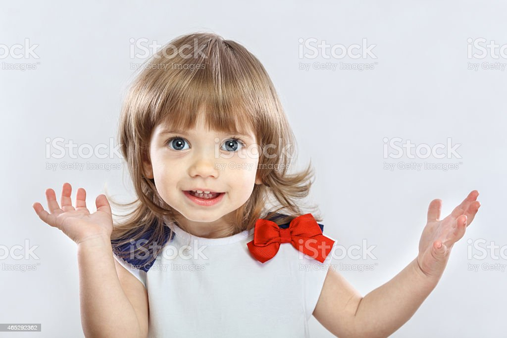 little happy girl stock photo