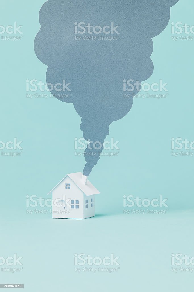 Little house and chimney stock photo