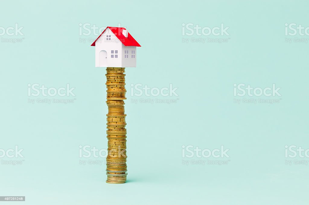 Little house and finances stock photo