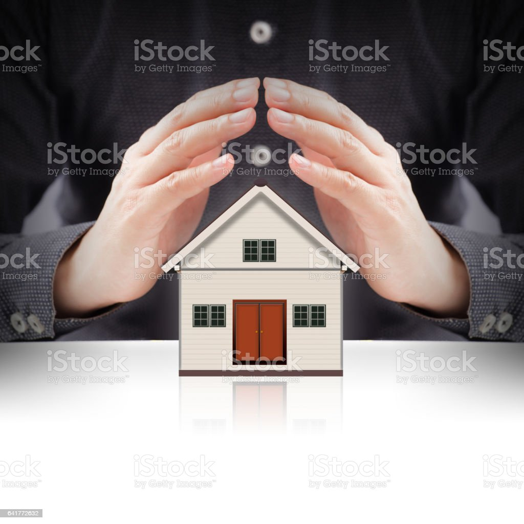 Little House and hands stock photo