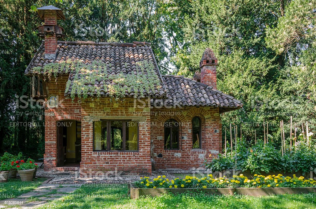 little house in the wood stock photo