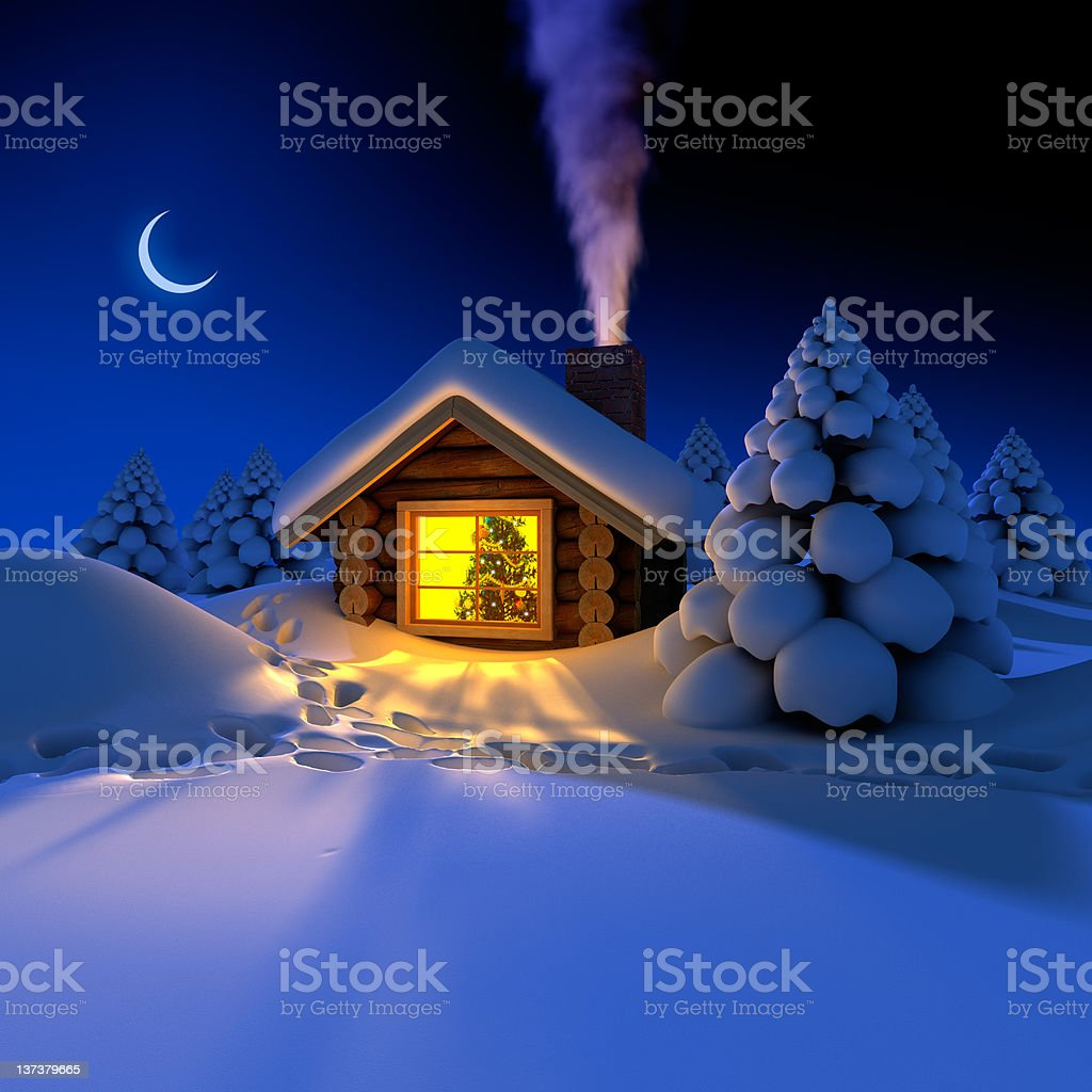 Little house in the woods on New Year's night royalty-free stock photo