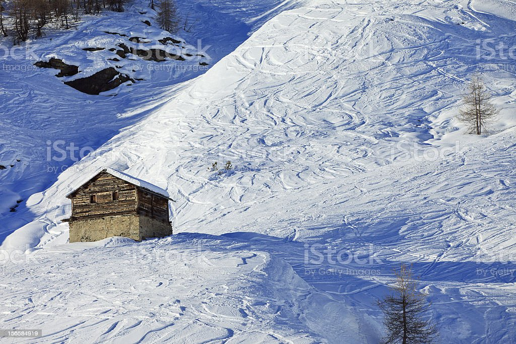 Little house on the Italian alps royalty-free stock photo